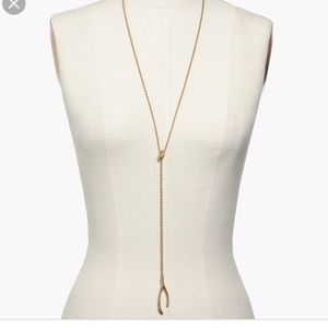 Madewell Brass Wishbone Lariat Necklace